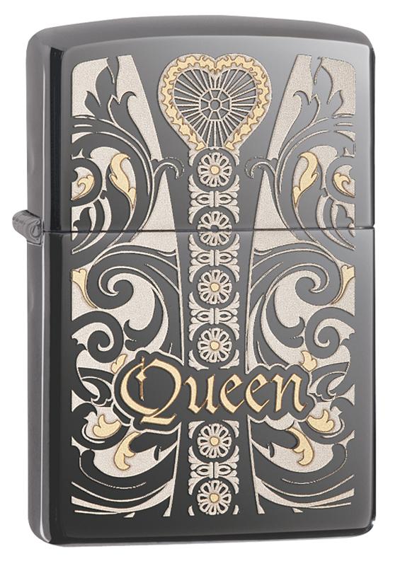 Зажигалка ZIPPO Classic Queen с покрытием Black Ice® часы зажигалка