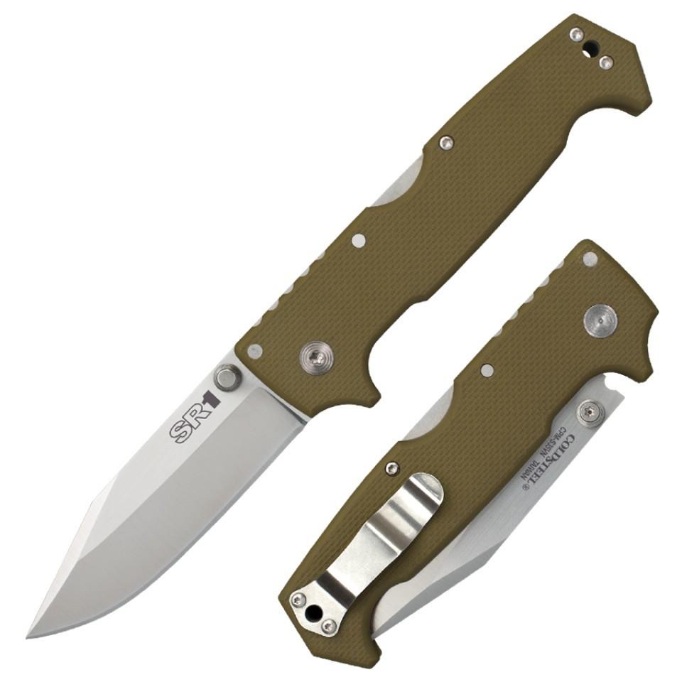 Складной нож SR1, CPM S35VN, зеленыйРаскладные ножи<br>Удобный складной нож SR1 - востребованный девайс среди работников силовых ведомств, полицейских и военных. Стильная рукоять цвета хаки изготовлена из качественного композита G10, который стойко переносит температурные изменения и не подвержен воздействию ультрафиолетовых лучей.Американский раскладной нож Cold Steel изготовлен из коррозиестойкой мартенситной стали марки CPM-S35VN. Металл не ржавеет, устойчив к износу и механическим повреждениям, долгое время сохраняет заточку.В качестве запирающего замка использован механизм Back-Lock. Фиксатор лезвия находится внутри ножа и удерживает стабильное положение за счет пружины. Чтобы закрыть конструкцию, нужно нажать на пластину, выступающую из рукояти.<br>