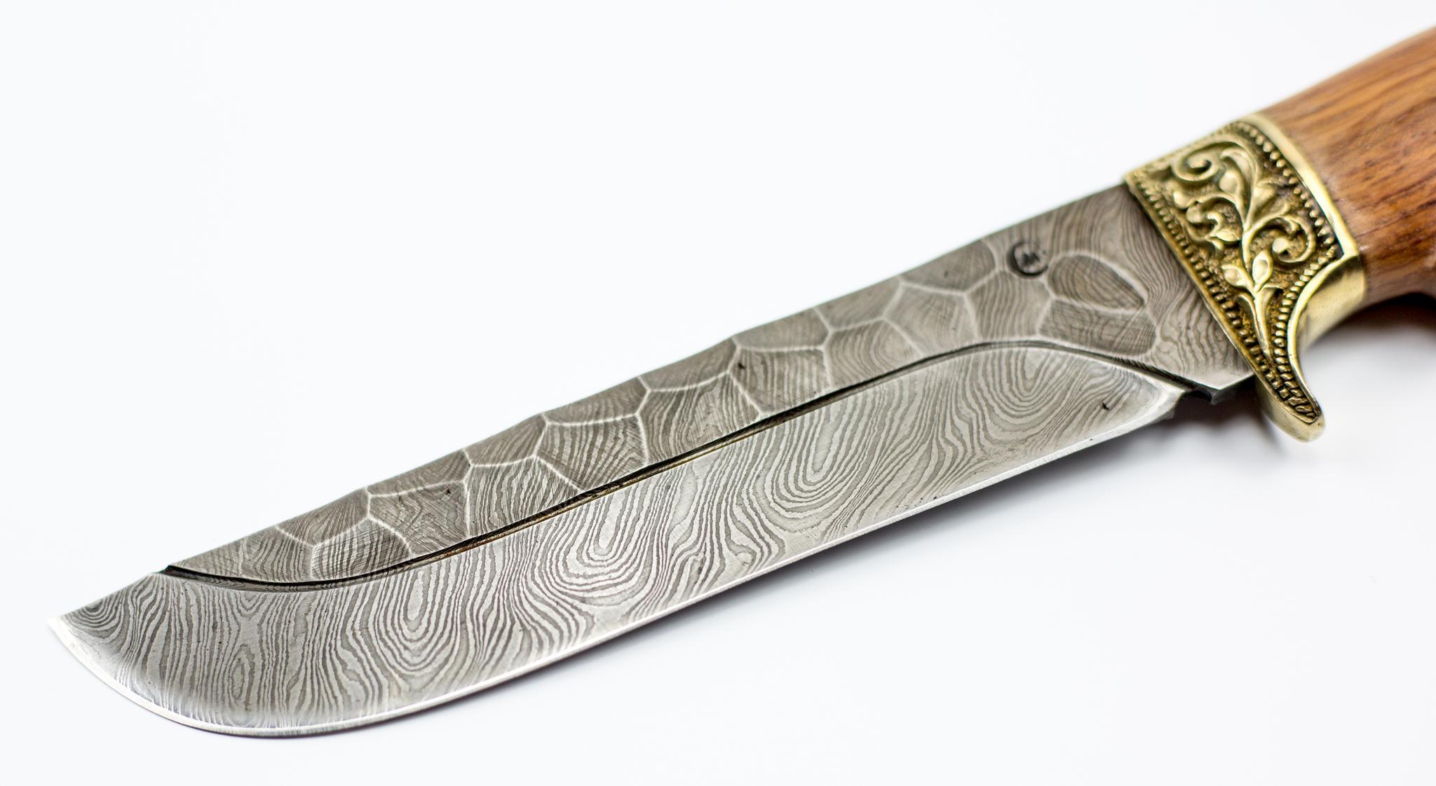 Фото 2 - Нож Варяг с резной рукоятью, дамасская сталь, литье от Кузница Семина