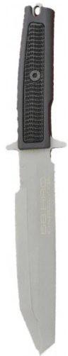 Нож с фиксированным клинком Golem SandblastedВоенному<br>Нож с фиксированным клинком Golem Sandblasted, сталь N-690CO клинок треугольник серый матовый,1/4 серейтор, рукоять прорезиненый форпрен черный, чехол пластик.<br>