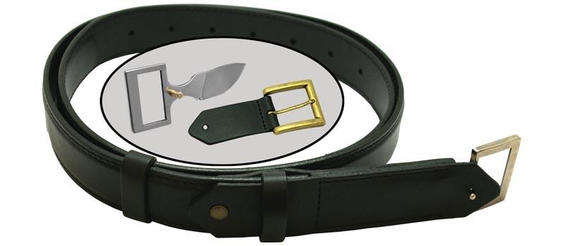 Кожаный нож-ремень, с доп. пряжкой