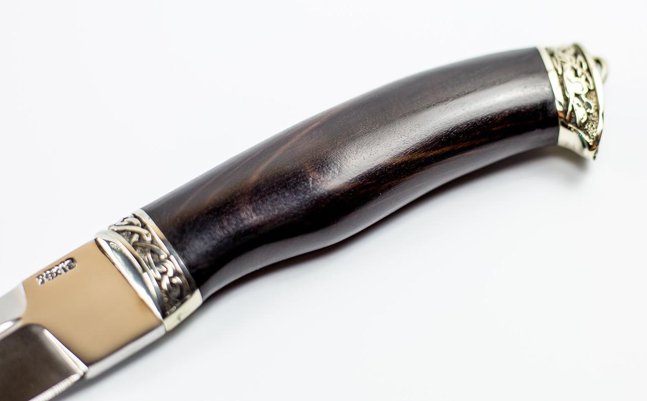 Фото 8 - Нож Пластунский, сталь 95х18, рукоять граб, мельхиор от АТАКА