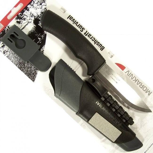 Фото 5 - Нож с фиксированным лезвием Morakniv Bushcraft Survival, сталь Sandvik 12C27, рукоять пластик/резина