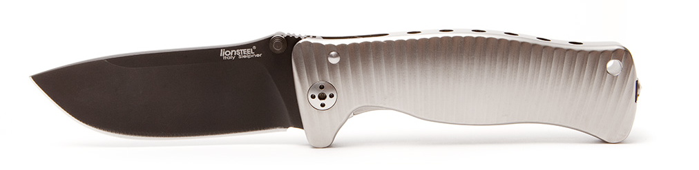 Нож складной SR-1, Solid® Gray Anodized Titanium Handle, Black PVD-Coated Sleipner Stainless Steel от Lion Steel