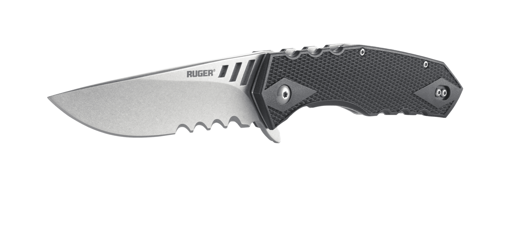 Складной нож Ruger® Knives Follow-Through™ Matthew Lerch's Design Ball-Bearings Flipper, Stonewashed Combo Blade, Black GRN HandleРаскладные ножи<br>Складной нож Ruger® Knives Follow-Through™ Matthew Lerch's Design Ball-Bearings Flipper, Stonewashed Combo Blade, Black GRN Handle<br>
