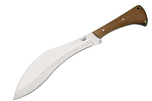 КукхриНожи Ворсма<br>Oбщая длина- 400 мм Длина клинка- 265 мм Толщина клинка- 40ммСталь- 65Х13Рукоять- дерево Чехол- кордура<br>Основой этой модели послужил классический непальский нож кукхри, который отлично зарекомендовал себя и в наших условиях, являясь универсальным тяжёлым ножом, позволяющим заменить как легкий туристический топорик, так и мечете. Кроме того Кукхри - отличное оружие самообороны. Конструкция рукоятки адаптирована для наших условий. Нож можно использовать в тёплых перчатках. Кукхри является одним из культовых ножей. Его конструкция отработана веками. Так по некоторым сведениям, такую форму имели мечи войск Александра Македонского (греческая мазхайра), именно они и завезли её в Индию, а дальше процесс развития кукхри в современную модель протекал под действием климатическо-географической специфики региона. Кукхри использовался гурхами в боевых действиях, как во время Второй мировой войны, так и сейчас. Некоторые модели современных кукхри принимаются на вооружение подразделениями стран НАТО и используются в Афганистане. Так что этот нож до сих пор сохранил свои боевые возможности.<br>