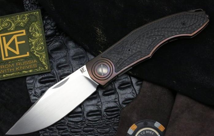 Складной нож CKF Makosha, сталь M390, рукоять Titanium, CF