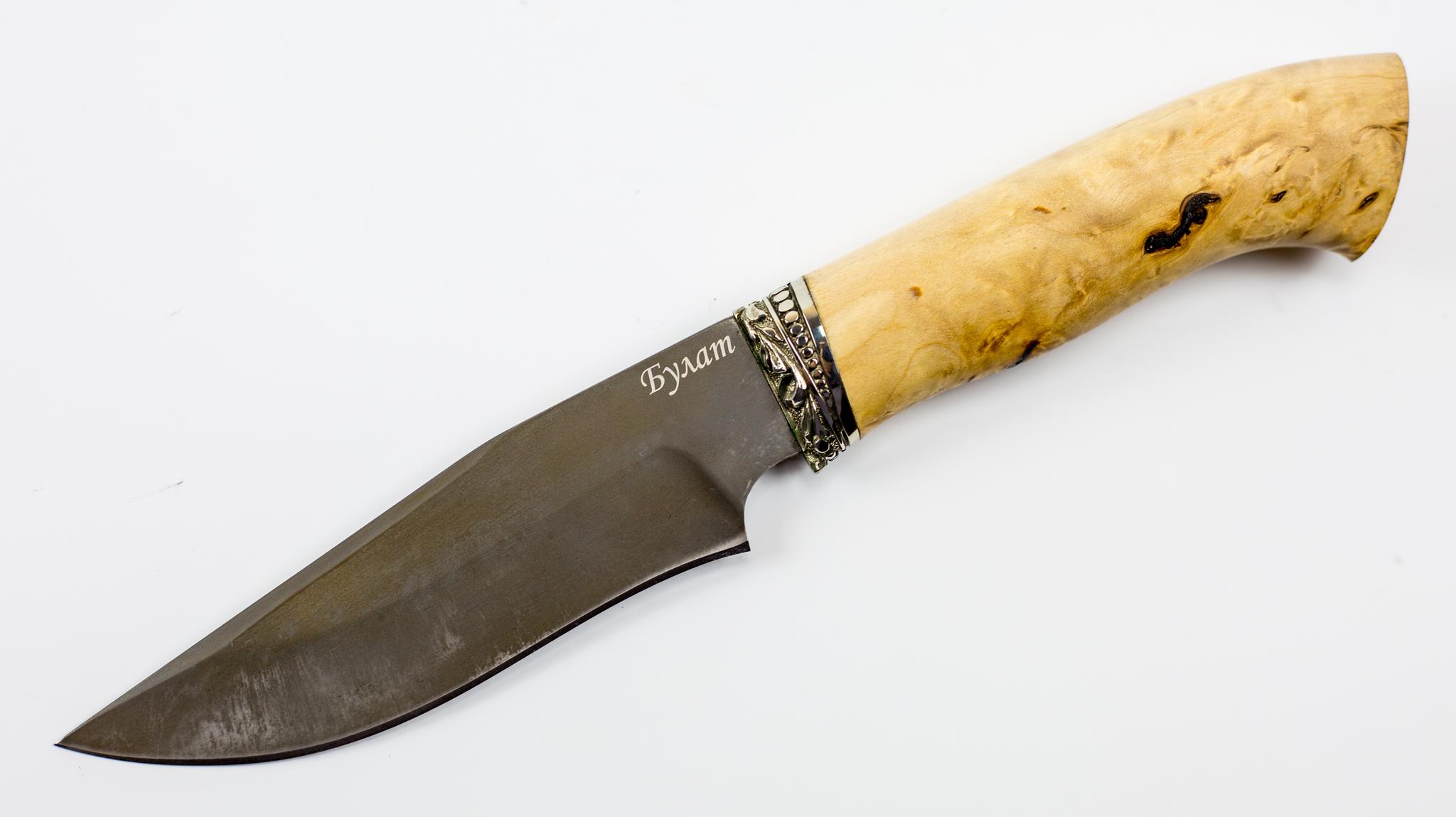 Нож Универсальный булат, карельская березаНожи Ворсма<br>Модель: УниверсальныйСталь клинка: БулатМатериал гарды: МельхиорМатериал рукояти: Карельская березаТвердость клинка (HRC): 64Общая длина (мм): 265Длина клинка (мм): 140Длина рукояти (мм): 125Ширина клинка (мм): 38Толщина рукояти (мм): 23Толщина обуха (мм): 3,5-4<br>