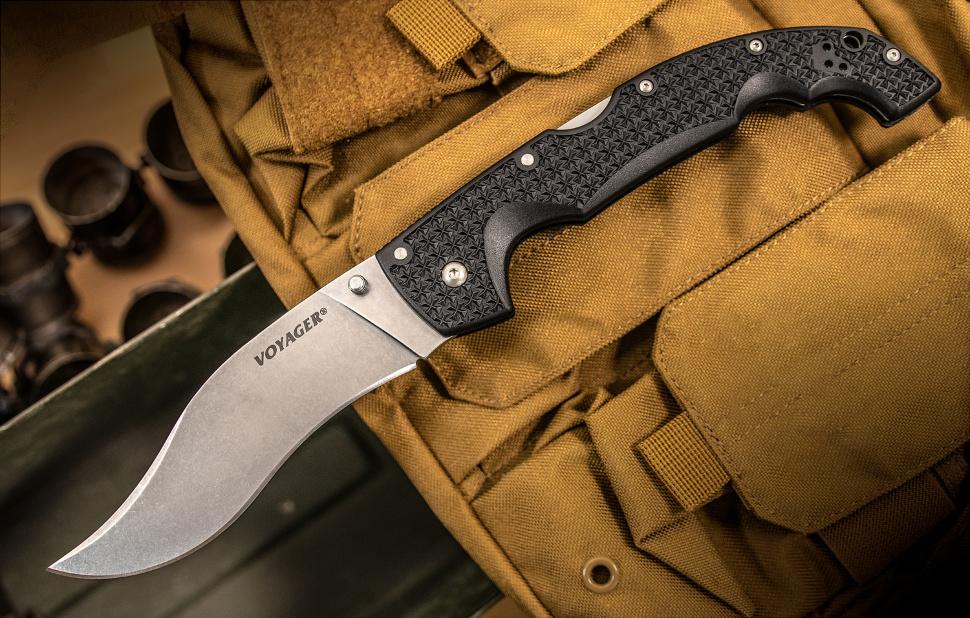 Полноразмерный нож, с необычным клинком - СКЛАДНОЙ НОЖ COLD STEEL EXTRA LARGE VOYAGER VAQUERO 29AXV, СТАЛЬ AUS 10A, РУКОЯТЬ GRIV-EX