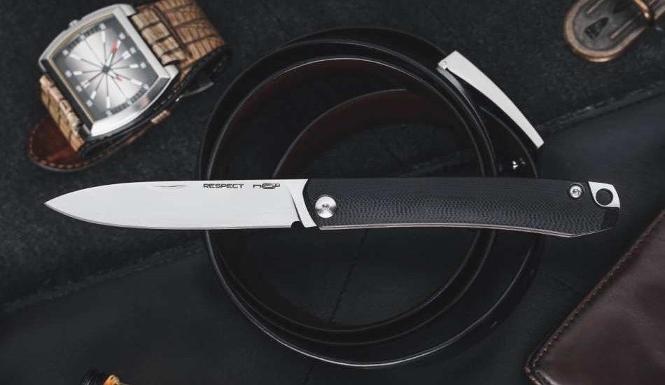 Классический складной нож в современном исполнении - RESPECT, СТАЛЬ X105 SATIN, G10 BLACK