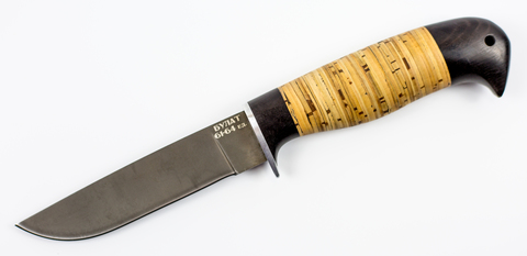 Нож Белка, сталь булат, береста. Вид 1