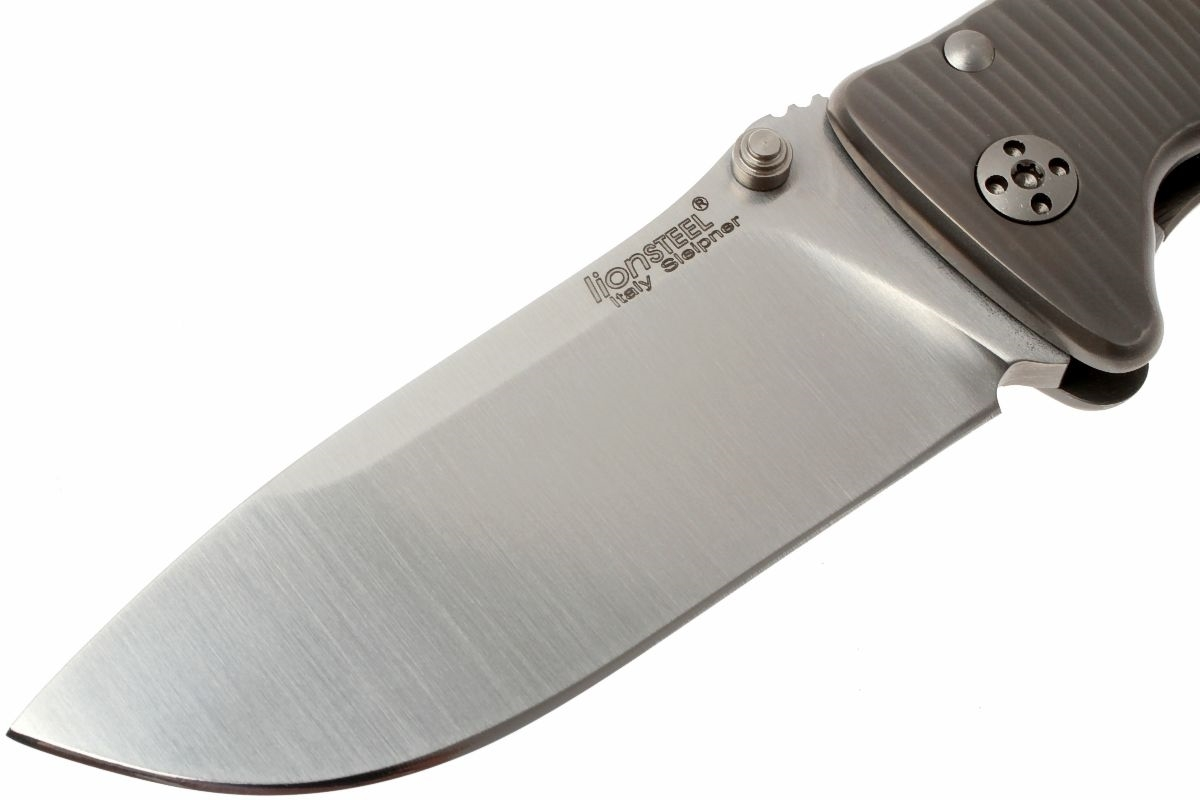 Фото 14 - Нож складной LionSteel SR2 G (GREY) Mini, сталь Uddeholm Sleipner® Satin, рукоять титан по технологии Solid®, серый от Lion Steel
