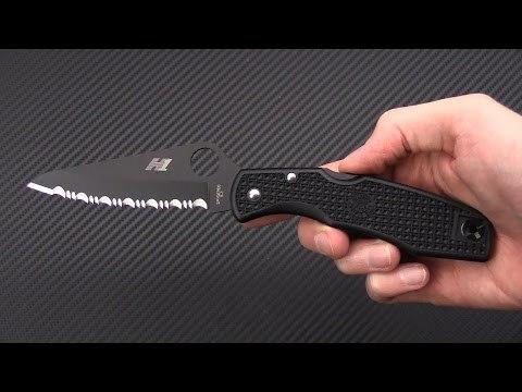 Фото 8 - Нож складной Pacific Salt Spyderco 91SBBK, сталь H1 Black Carbonitride Serrated, рукоять термопластик FRN, чёрный