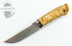 Нож Клык, M390, мельхиор, рукоять - карельская береза