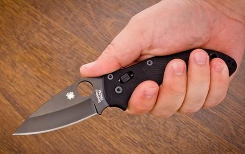 Нож складной Manix 2 Black - Spyderco 101GPBBK2, сталь Crucible CPM® S30V™ Black DLC Plain, рукоять G10, чёрный. Вид 3