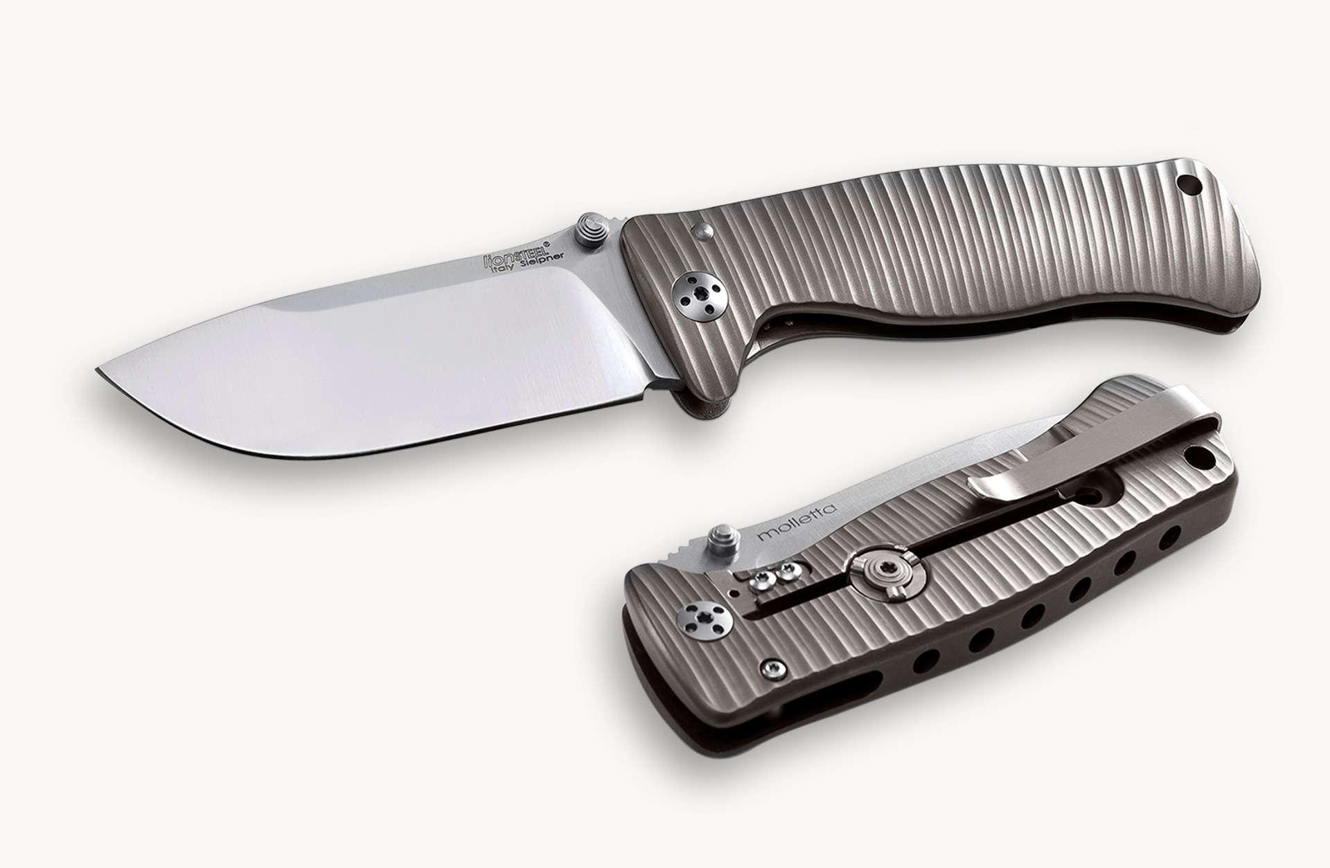 Фото 6 - Нож складной LionSteel SR2 G (GREY) Mini, сталь Uddeholm Sleipner® Satin, рукоять титан по технологии Solid®, серый от Lion Steel