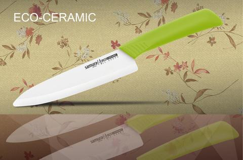 Нож кухонный Шеф Samura Eco Festival - SC-0084G, лезвие из циркониевой керамики, рукоять пластик, 175 мм. Вид 2