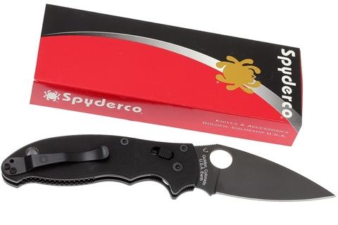 Нож складной Manix 2 Black - Spyderco 101GPBBK2, сталь Crucible CPM® S30V™ Black DLC Plain, рукоять G10, чёрный. Вид 6
