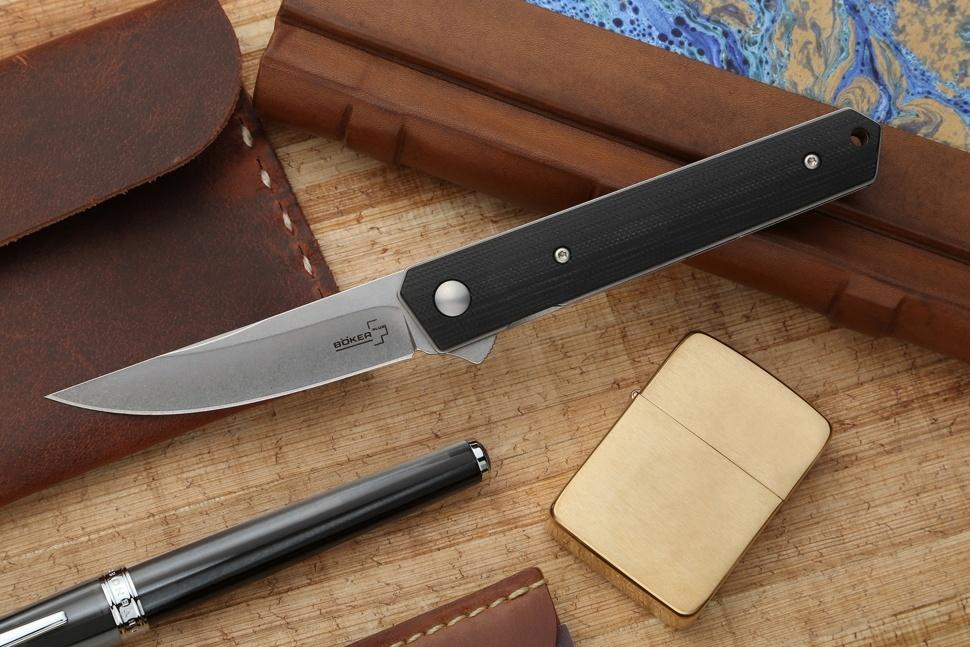 Фото 7 - Нож складной Mini Kwaiken (IKBS® Flipper) - Boker Plus 01BO289, сталь VG-10 Stonewash, рукоять стеклотекстолит G10, чёрный