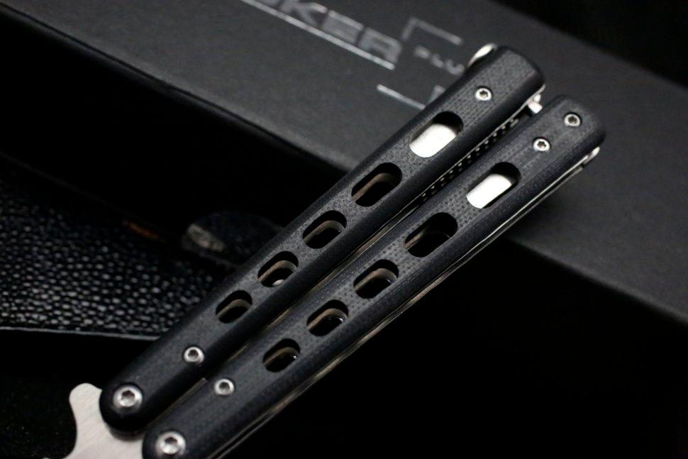Фото 5 - Складной нож Boker Plus Balisong 06EX002, Satin Finish 440C Steel, рукоять стеклотекстолит G-10, чёрный