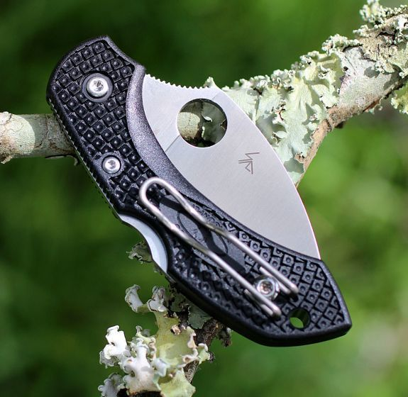 Фото 5 - Складной нож Dragonfly 2 Wharncliffe Spyderco C28FPWCBK2, сталь VG-10 Satin Plain, термопластик FRN, чёрный