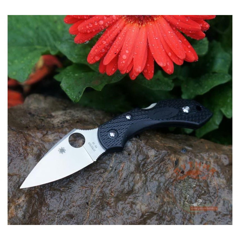 Фото 12 - Складной нож Dragonfly 2 - Spyderco 28PBK2, сталь VG-10 Satin Plain, рукоять термопластик FRN чёрный