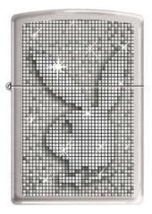 Зажигалка ZIPPO Playboy®, латунь с покрытием Street Chrome™, серебристая, матовая, 36x12x56 мм