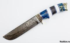 Нож Варяг, торцевой дамаск с добавление никеля,карельская береза