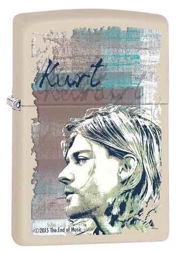 Зажигалка ZIPPO Kurt Cobain с покрытием Cream Matte, латунь/сталь, кремовая, матовая, 36x12x56 мм зажигалка zippo classic с покрытием orange matte латунь сталь оранжевая матовая 36x12x56 мм
