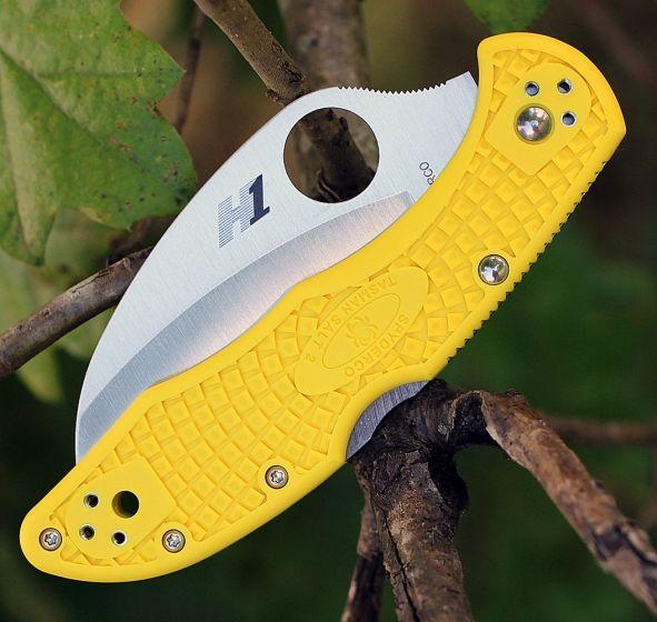 Фото 6 - Складной нож Tasman Salt 2 - Spyderco 106PYL2, сталь H1 Satin Plain, рукоять термопластик FRN, жёлтый