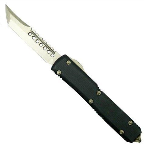 Автоматический выкидной нож Microtech Ultratech Hellhound, сталь CTS-204P, рукоять черный G10, клинок бронза. Вид 2