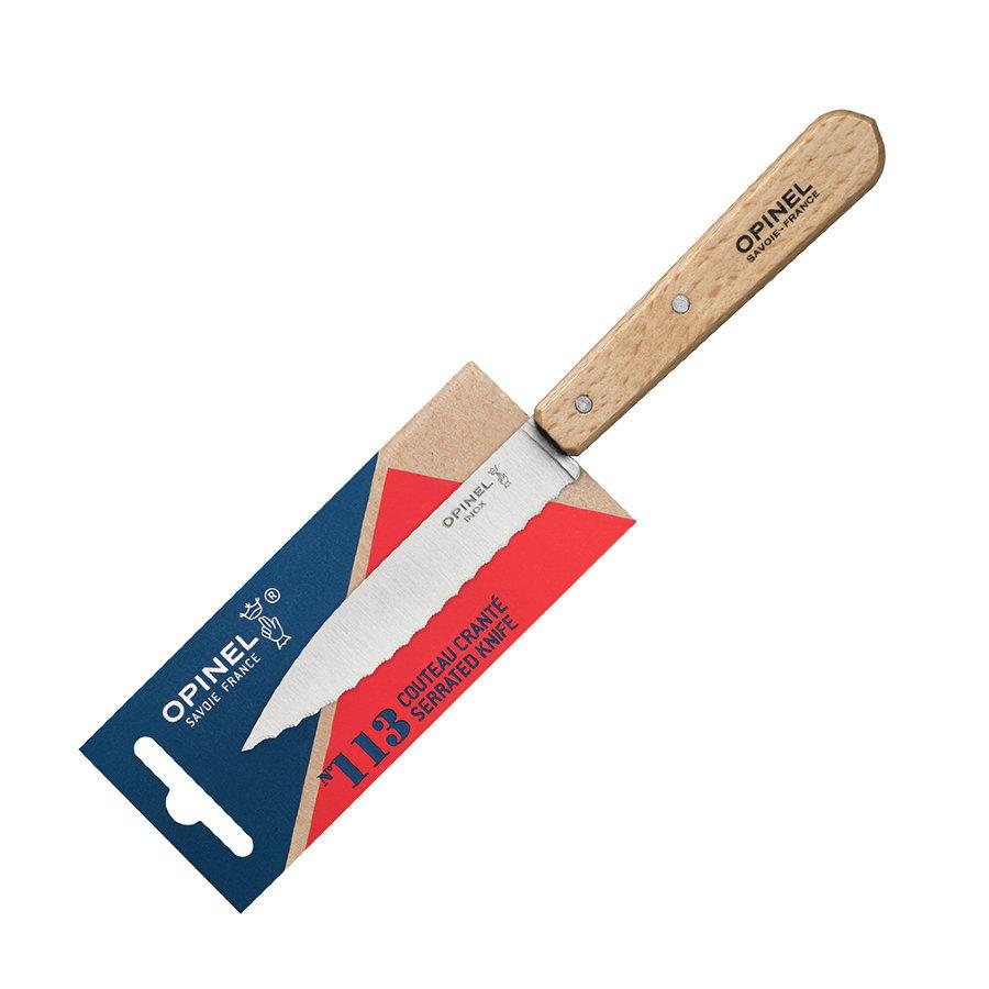 Нож столовый серрейторный Opinel №113, деревянная рукоять, нержавеющая сталь, блистер