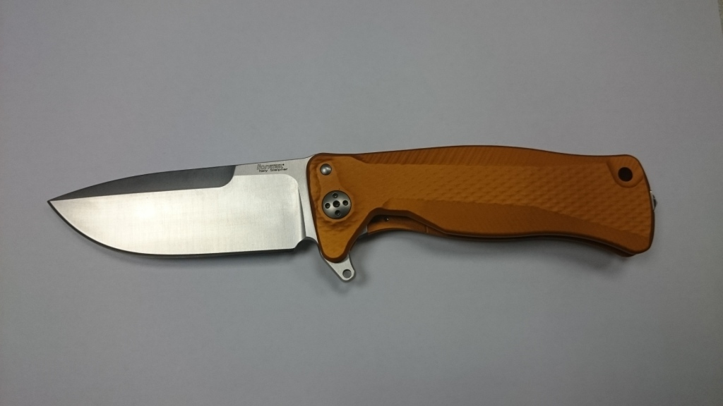Фото 7 - Нож складной SR-11 Ball-Bearing Flipper, Orange Solid® Aluminum Handle, Satin Finish Sleipner Stainless Steel-2 от Lion Steel