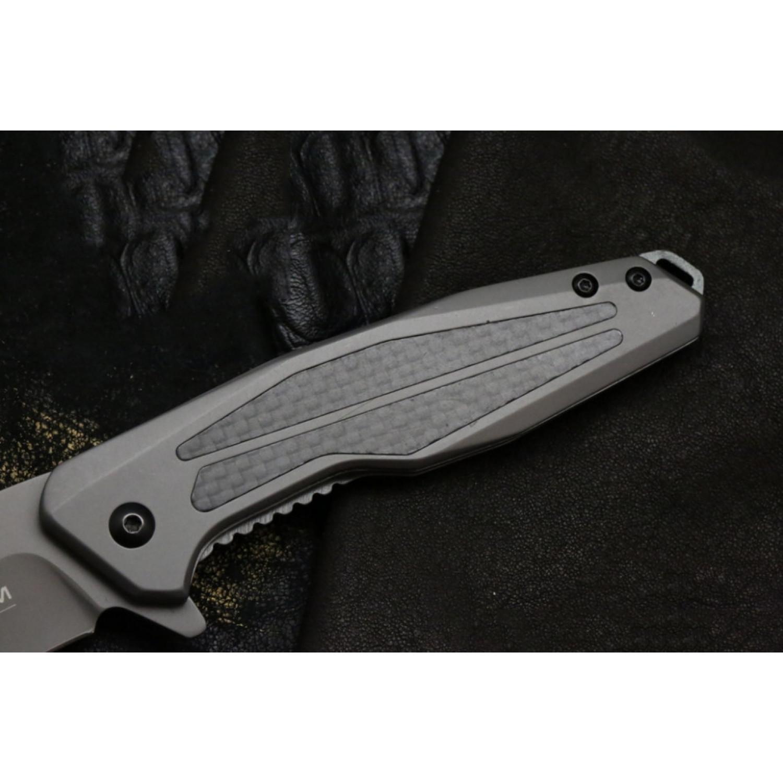 Фото 9 - Складной нож Magnum Olisar - Boker 01RY847, сталь 440A Titanium Nitride, рукоять нержавеющая сталь/карбон