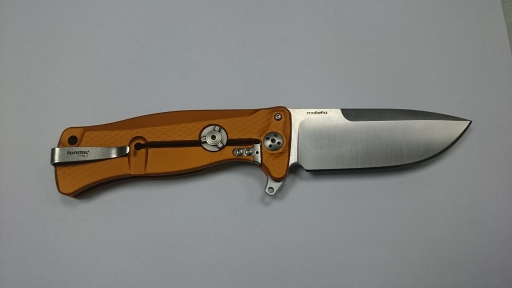 Фото 9 - Нож складной SR-11 Ball-Bearing Flipper, Orange Solid® Aluminum Handle, Satin Finish Sleipner Stainless Steel-2 от Lion Steel