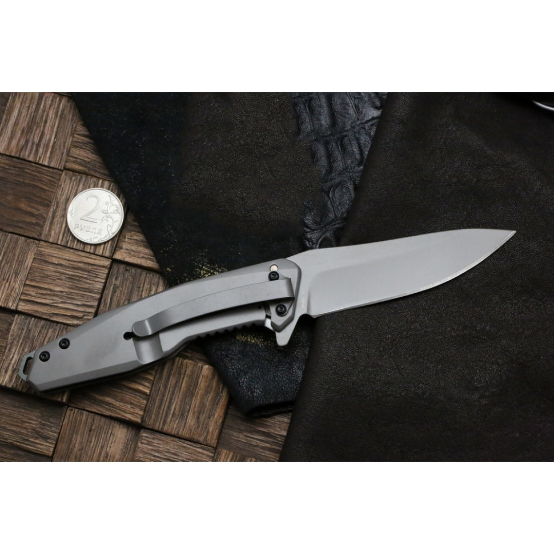 Фото 8 - Складной нож Magnum Olisar - Boker 01RY847, сталь 440A Titanium Nitride, рукоять нержавеющая сталь/карбон