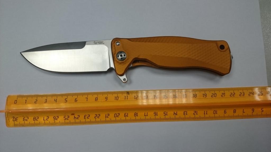 Фото 10 - Нож складной SR-11 Ball-Bearing Flipper, Orange Solid® Aluminum Handle, Satin Finish Sleipner Stainless Steel-2 от Lion Steel