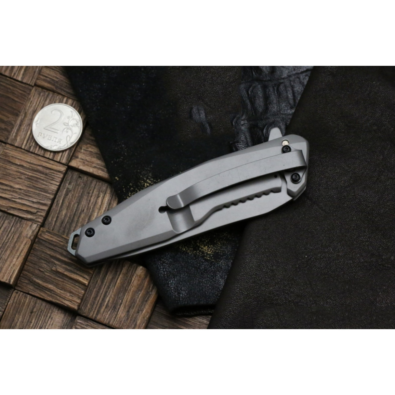 Фото 10 - Складной нож Magnum Olisar - Boker 01RY847, сталь 440A Titanium Nitride, рукоять нержавеющая сталь/карбон