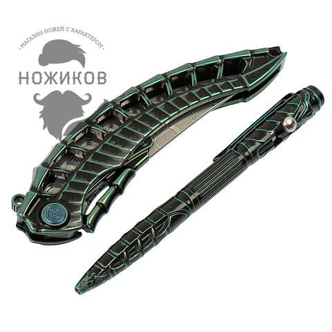 Складной нож Alien Green с тактической ручкой, Limited Edition. Вид 16