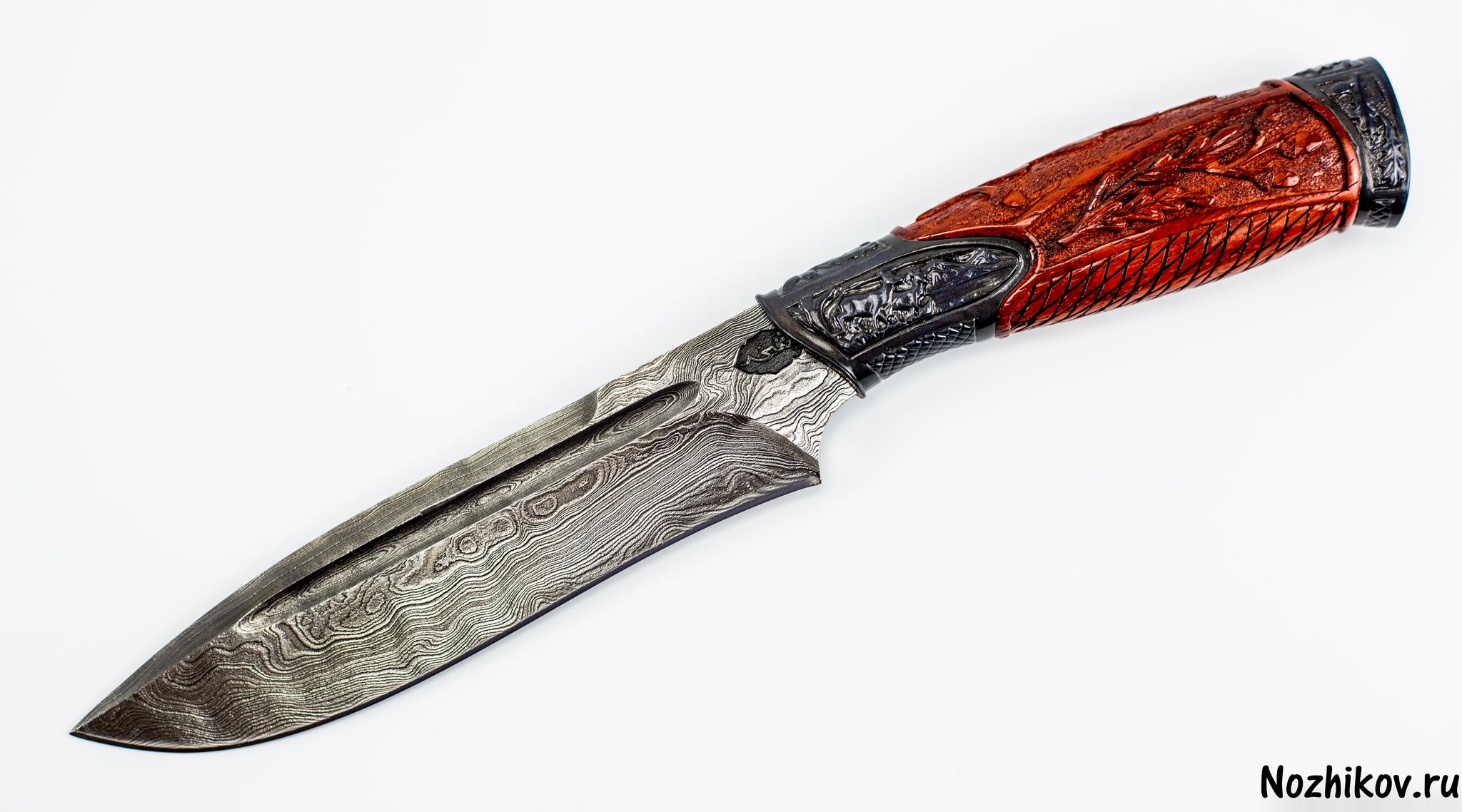 Авторский Нож из Дамаска №34, Кизляр авторский нож из дамаска 10 кизляр
