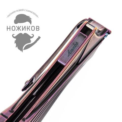 Складной нож Amulet Rikeknife, сталь M390, черно-фиолетовый титан. Вид 9