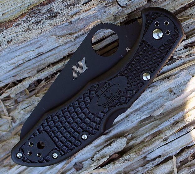 Фото 5 - Складной нож Salt 2 - Spyderco 88PBBK2, сталь H-1 Black Titanium Carbonitride (TiCN) Plain, рукоять термопластик FRN, чёрный