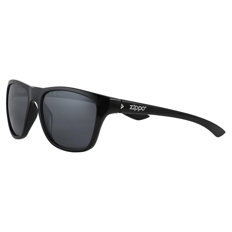 Очки солнцезащитные ZIPPO OB75-01, унисекс, чёрные, оправа, линзы и дужки из поликарбоната