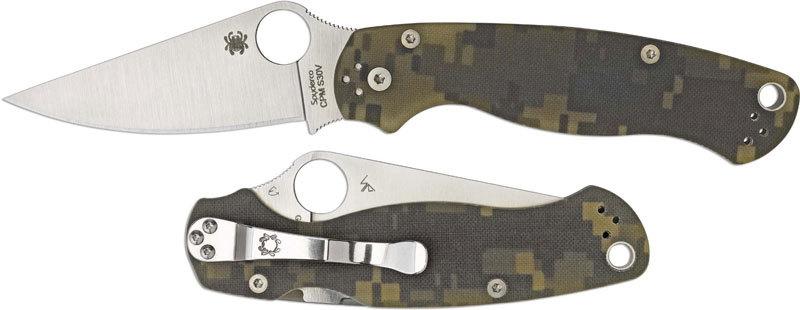 Фото 4 - Нож складной Para Military 2 - Spyderco C81GPCMO2, сталь CPM® S30V™ Satin Plain, рукоять стеклотекстолит G10, цифровой камуфляж (Digi Camo)