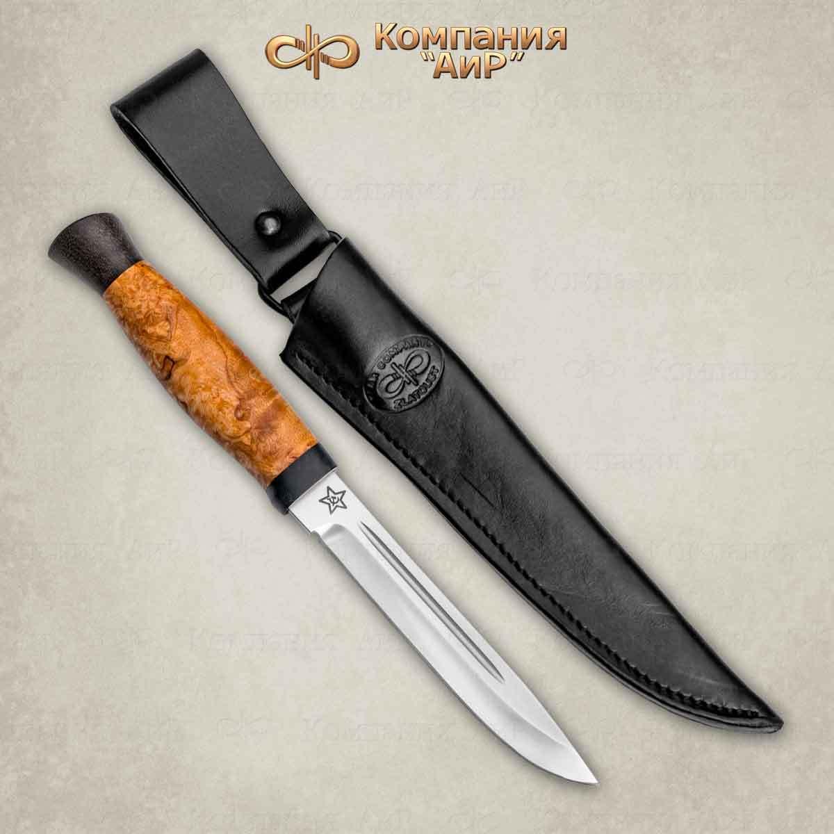 Нож разделочный АиР Финка-3, сталь 110х18 М-ШД, рукоять карельская береза нож бекас карельская береза 110х18 м шд