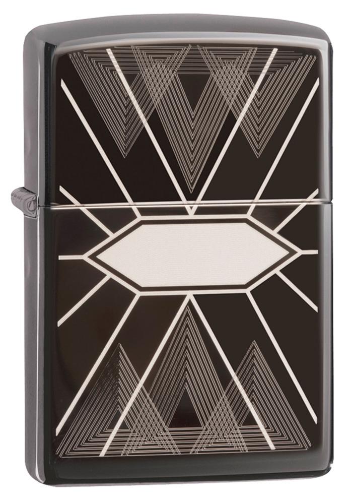 Зажигалка ZIPPO Triangles Geometry с покрытием Black Ice®, латунь/сталь, чёрная, глянцевая, 36х12х56 мм