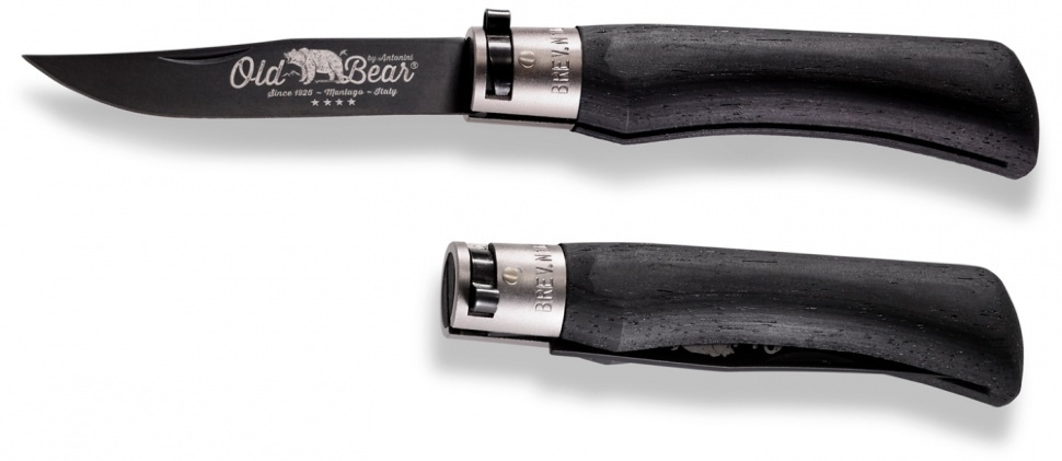 Фото 4 - Складной нож Antonini Old Bear® Black Laminated Wood XL, сталь 420 PTFE покрытие, рукоять стабилизированная древесина, Nickel Safety Ring
