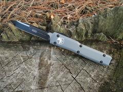 Автоматический выкидной нож Ultratech S/E, Contoured Chassis Gray, 2-Tone Finish Drop Point Elmax