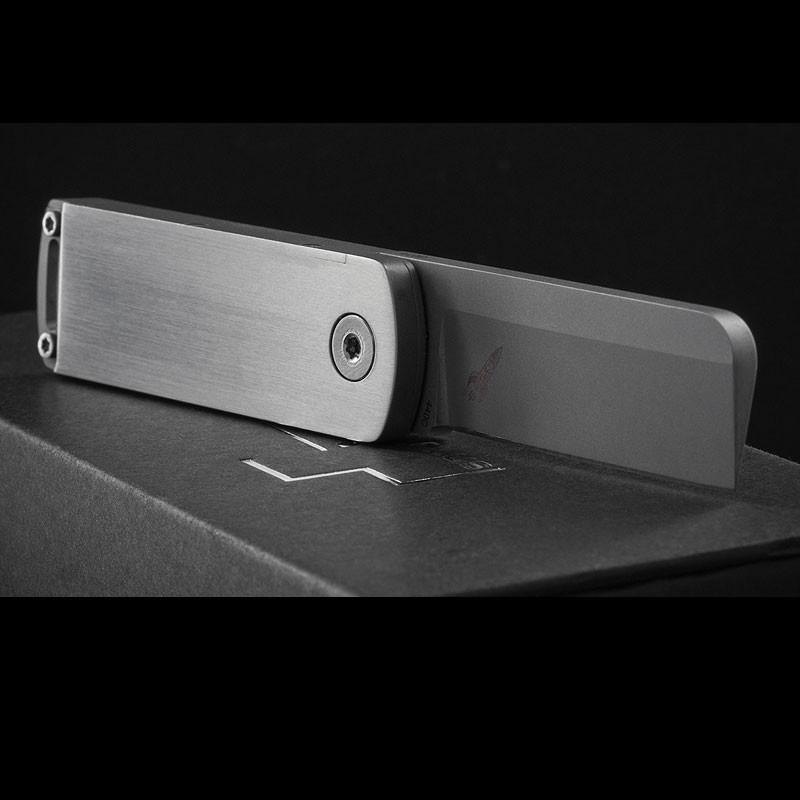 Фото 6 - Нож складной Boker Plus Darriel Caston Design Rocket Titan, сталь клинка 9Cr13CoMoV Bead Blasted Plain, рукоять титан, 01BO264