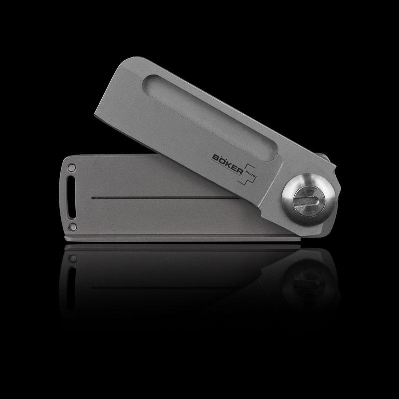 Фото 8 - Нож складной Boker Plus Darriel Caston Design Rocket Titan, сталь клинка 9Cr13CoMoV Bead Blasted Plain, рукоять титан, 01BO264
